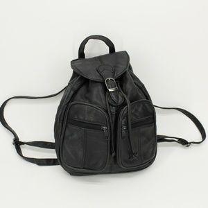 Vintage Leather Drawstring Backpack